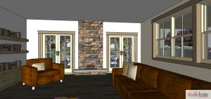 Repeat stone used to wrap columns outside on the fireplace inside your home.